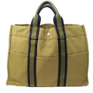 Vintage Hermes Tote bag Fourre Tout Green Used Men